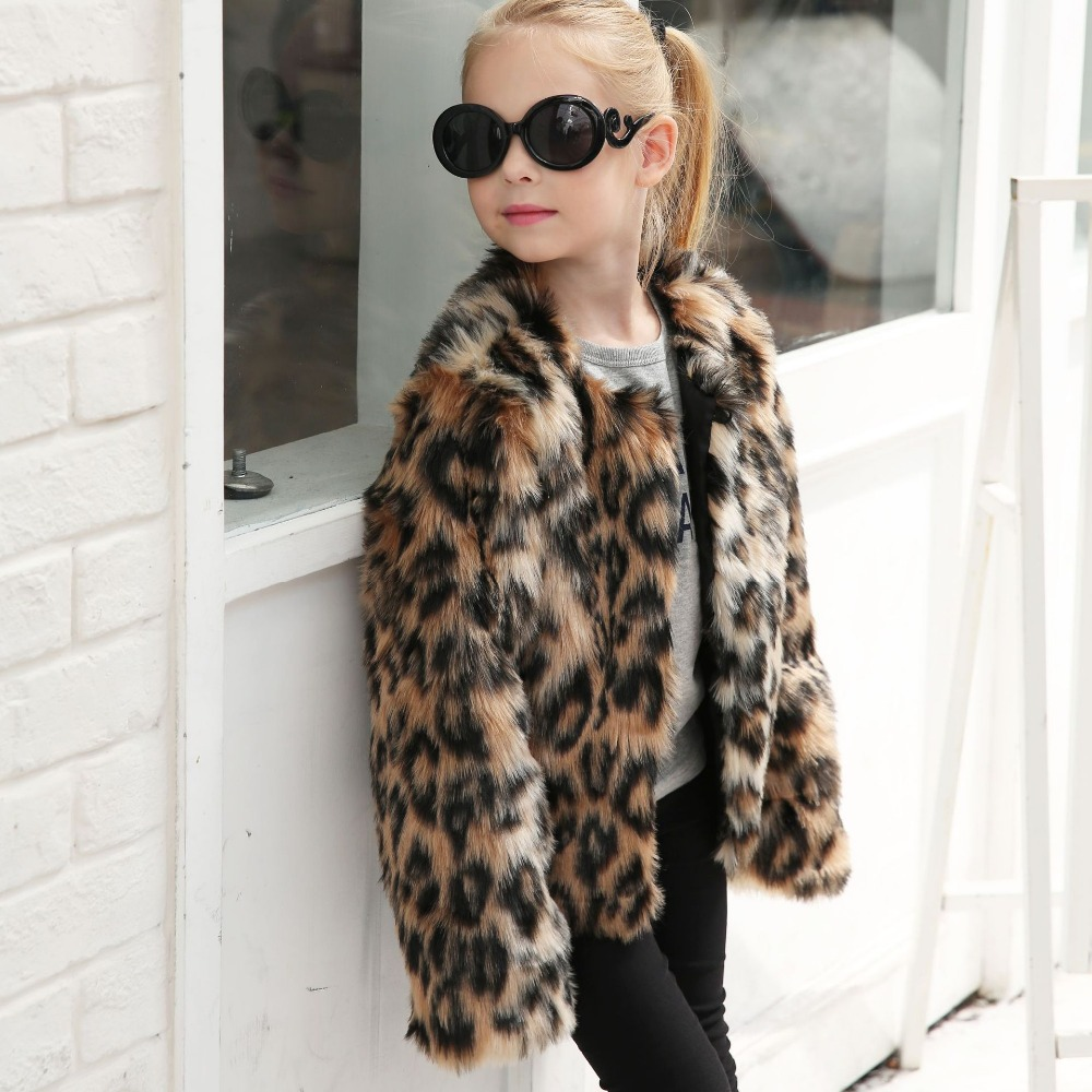 Baby Girls Jacket And Coat Winter Faux Fur Kids Baby Girls Outerwear Leopard Childre Jacket For Girls Thick Warm Outwear Clothes