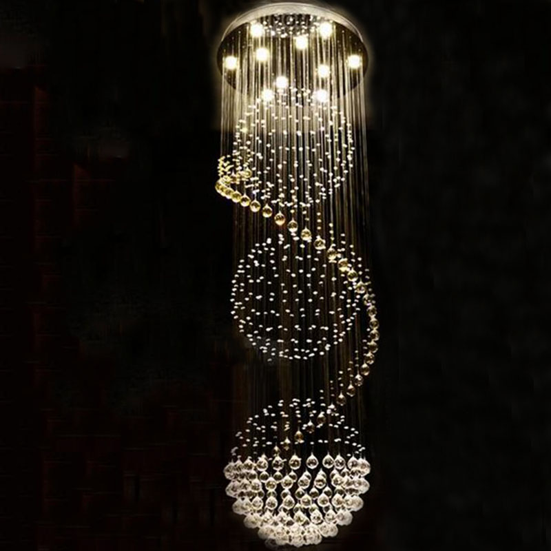 Modern Long LED Spiral Living Crystal Chandeliers Lighting Indoor Fixture for Staircase Stair Lamp Showcase Bedroom