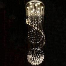 الحديثة طويلة LED دوامة المعيشة الثريات البلورية/ النجف الكريستالي الإضاءة لاعبا اساسيا داخلي ل درج درج مصباح عرض غرفة نوم قاعة الفندق