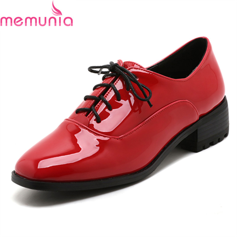 MEMUNIA spring autumn fashion lace up ladies shoes med heels square toe high quality patent leather black casual shoes memunia spring autumn fashion high