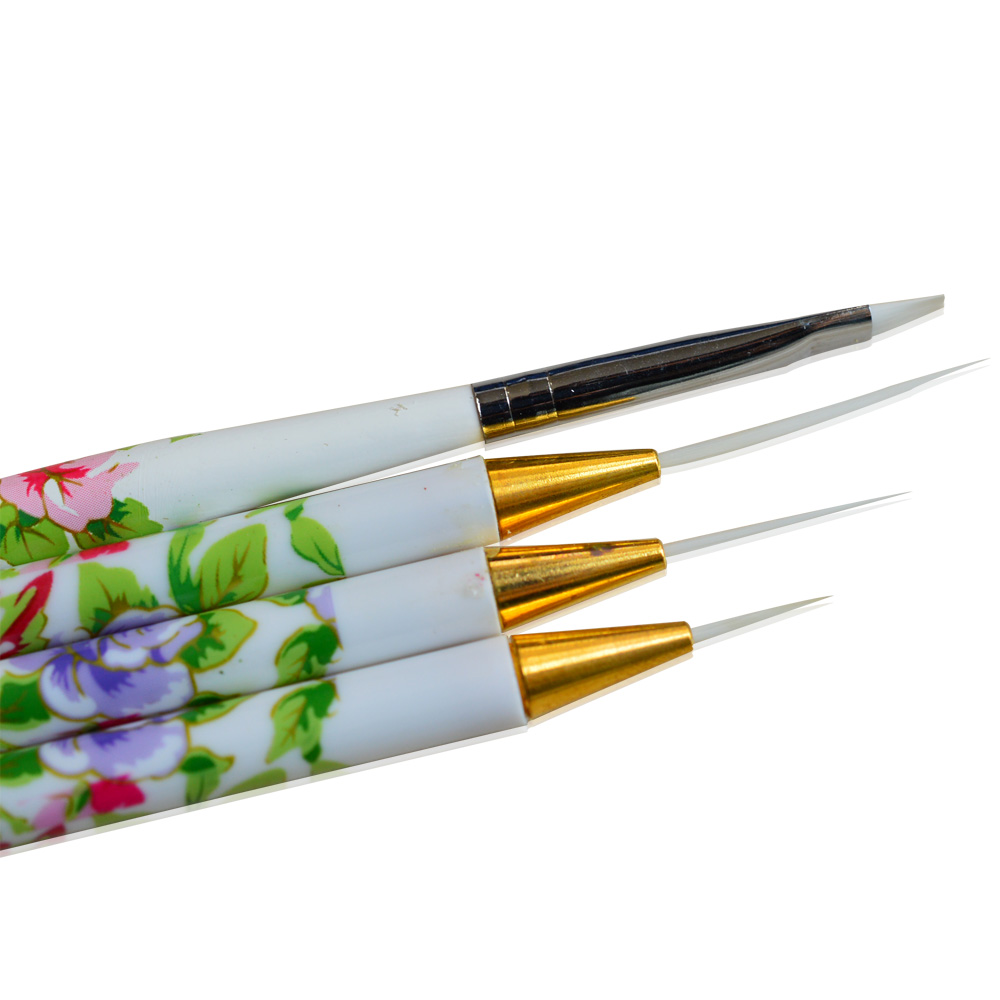 4pcs/lot Nail Art Brush Synthetic Fiber Head Flowers Pattern Handle Drawing Painting Stripe Manicure Nail Art Tools NC064 4 pcs multipurpose fiber nail art drawing pens