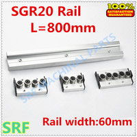 Wood working machinery aluminum profile built in double axis linear guide SGR20 roller slide rail L=800mm+1pcs SGR20 wheel block
