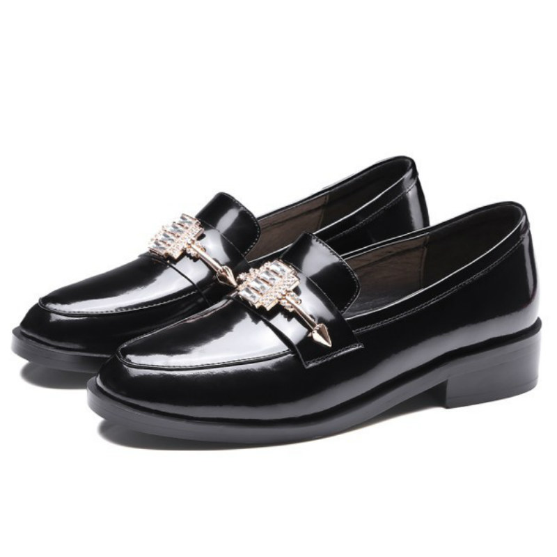 ФОТО top brand women natural cow patent leather loafers 2017 black rhinestones buckle 3cm low square heels fashion ladies flat shoes