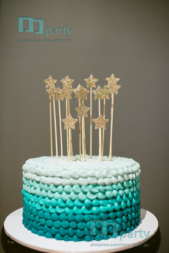 Cake Decorating Ideas Stars : Aliexpress.com : Buy high quality Gold Glitter star cake ...