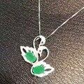 Natural verde esmeralda colgante s925 Natural Colgante de piedras preciosas Collar de moda romántica Doble Cisne muchacha de las mujeres regalo de la joyería
