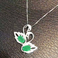 Natural verde esmeralda pingente S925 prata gemstone Natural Pingente de Colar na moda romântico Duplo Swan mulheres presente da menina jóias