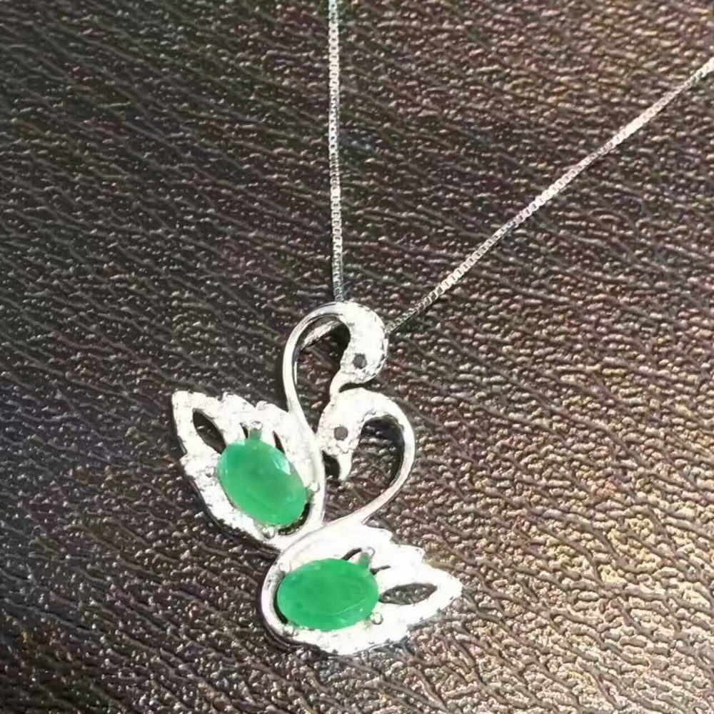 natural green emerald pendant S925 silver Natural gemstone Pendant Necklace trendy romantic Double Swan women girl gift jewelry