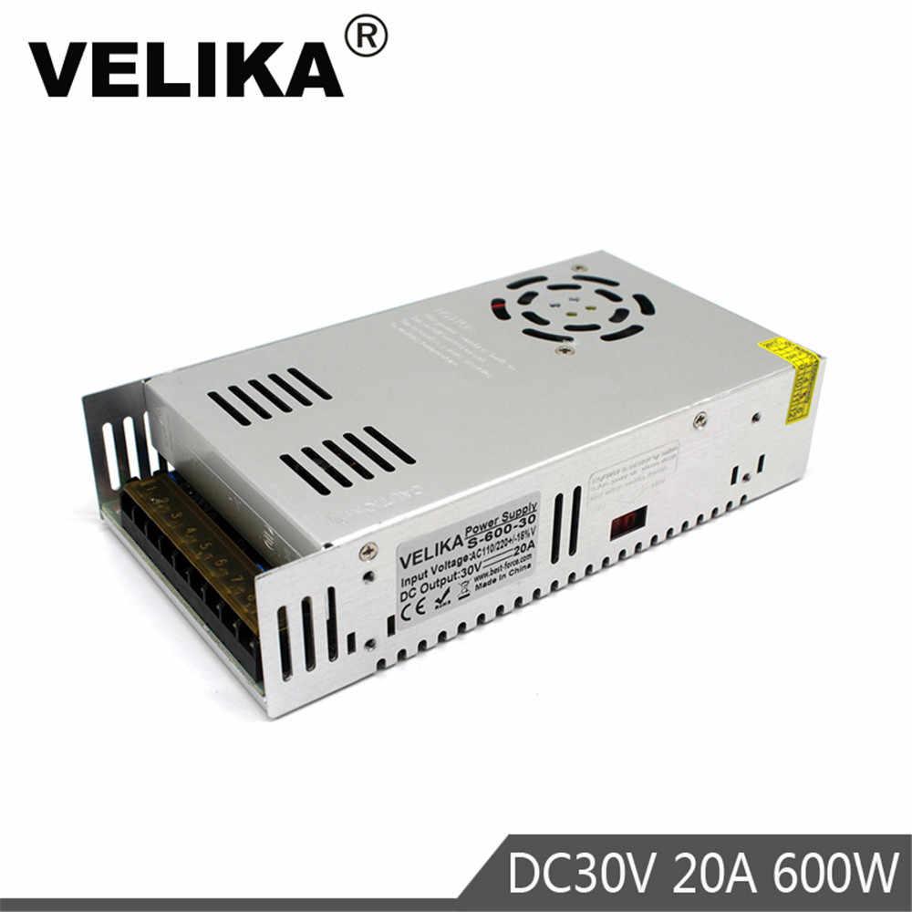 600 W блок питания 30В 20A один Выход импульсный источник питания преобразователь драйвера AC110V 220 V постоянного тока до DC30V USP для Светодиодная лампа CCTV 3D-принтеры фрезерный станок с ЧПУ