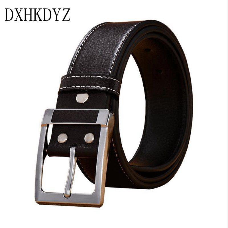 DXHKDYZ deluxe haute fin brand design or argent aiguille boucle hommes en cuir  d affaires décontractée haute qualité en cuir véritable ceinture ... a3cdb62b5f9