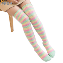 Princess Sweet Lolita Girls Striped Stockings Winter Warm Thigh High Stockings Rainbow Coral Fleece Thick Over Knee Stockings