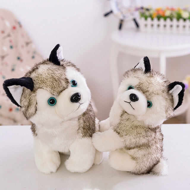 18 22 Cm Cute Stuff Plush Real Life Husky Toy Dog Figure Doll Kawaii Kids Gift Animals Home Desk Car Decorations
