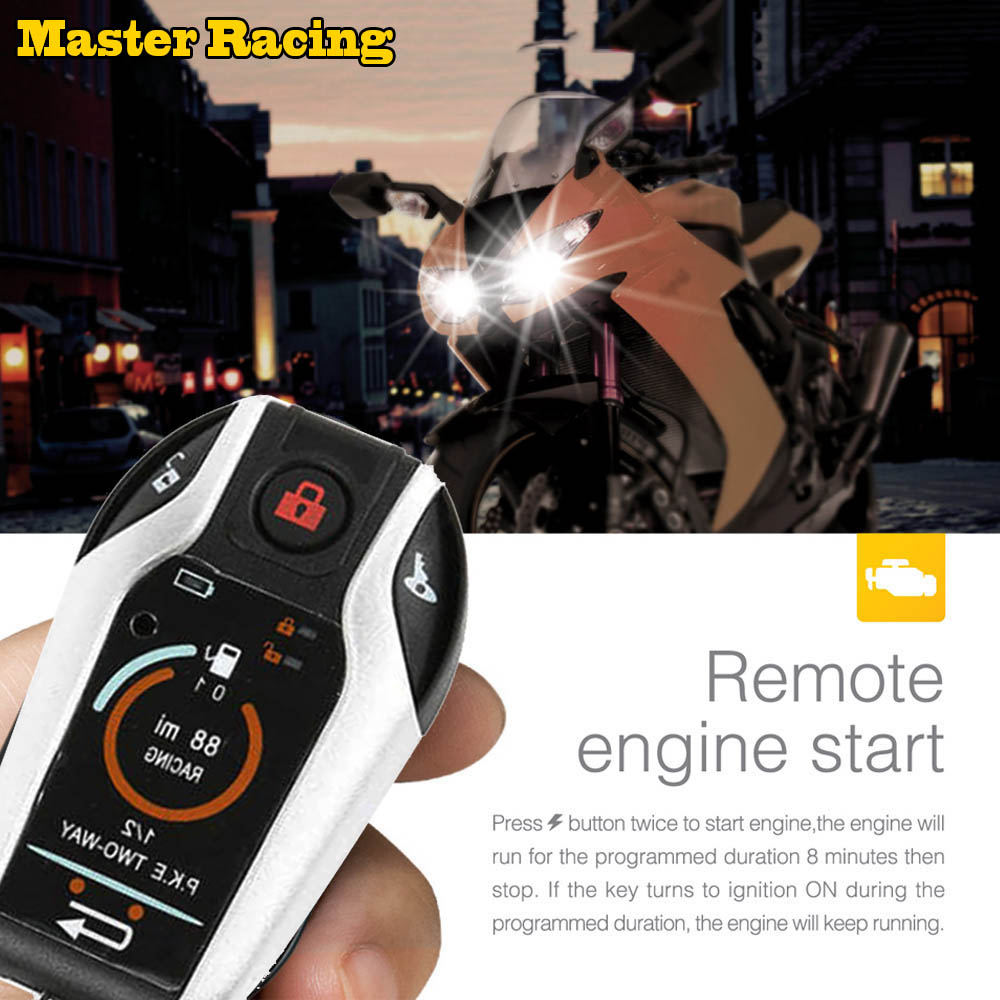 Motorcycle Alarm Remote Control Engine Start Two 2 Way Auto Car Alarm System Anti-Theft Device Vibration Alarm Lock System motorcycle intelligent anti theft alarm device black red