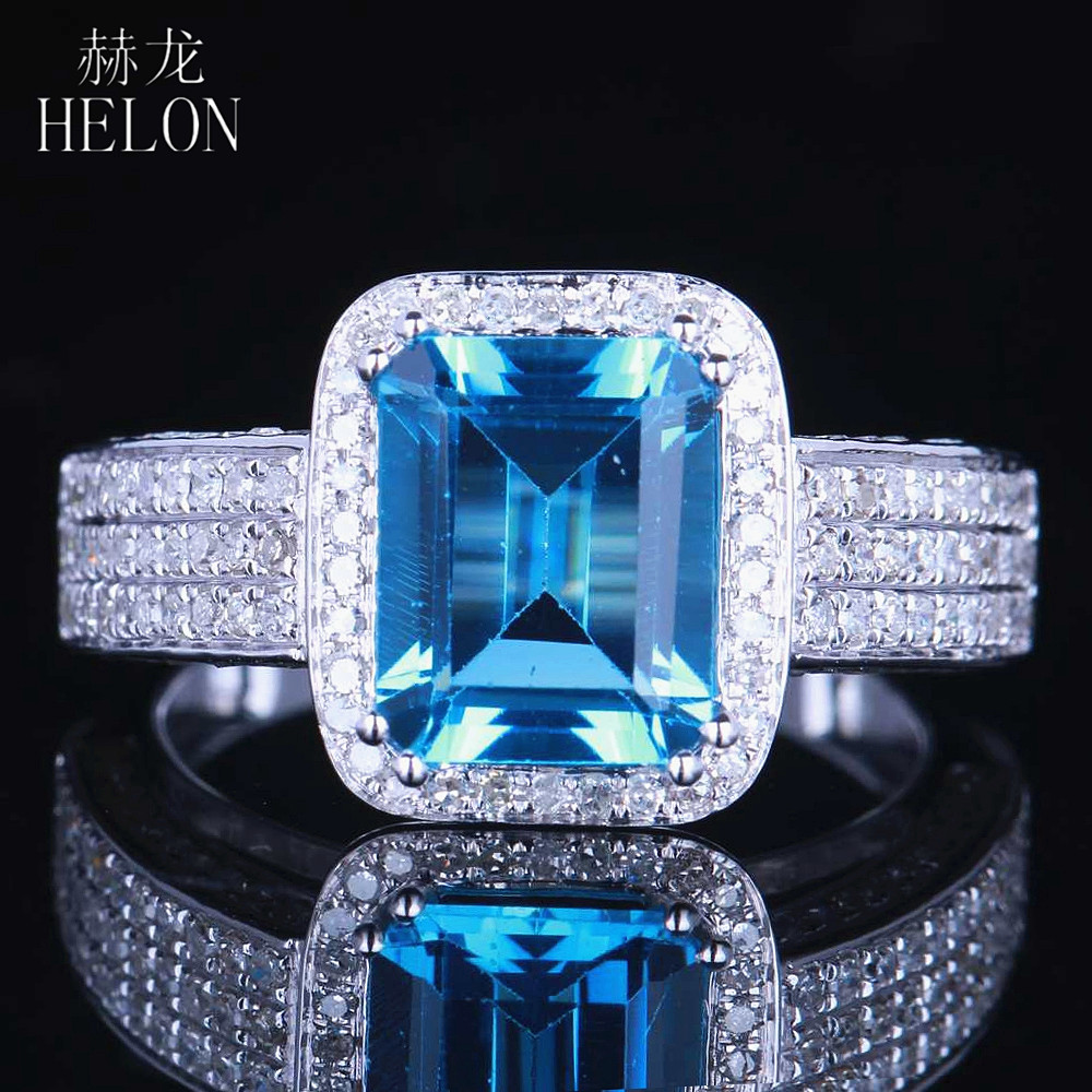 HELON 9x7MM Emerald Cut Blue Topaz Natural Diamonds Ring Solid 14K White Gold Engagement Wedding Fine Jewelry Gemstone Ring helon sterling silver 925 flawless 11x9mm emerald cut 4 36ct real blue topaz natural diamond engagment wedding ring fine jewelry