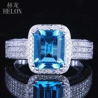 HELON 9x7MM Emerald Cut Blue Topaz Natural Diamonds Ring Solid 14K White Gold Engagement Wedding Fine Jewelry Gemstone Ring