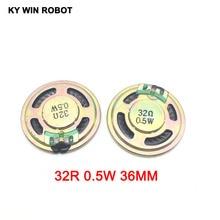 5pcs/lot New Ultra-thin speaker 32 ohms 0.5 watt 0.5W 32R Diameter 36MM 3.6CM thickness 5MM