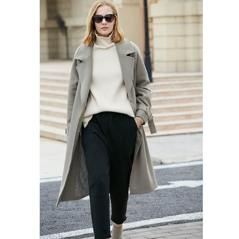 Amii Minimalisme Hepburn Style Coréen Laine Manteau De Laine de 2018 Hiver Nouvelles Femmes Mi Longueur Manteau