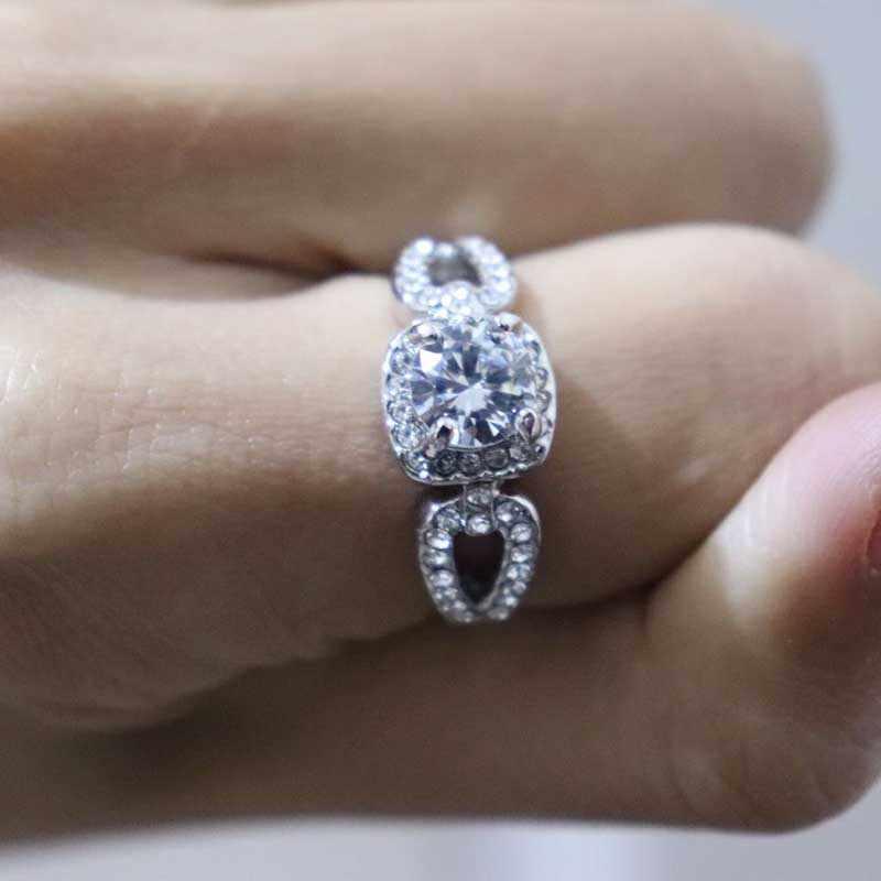 Tisonliz Silver Zircon Crytal Rings for Women Bride Engagement Wedding Finger Rings Rhinestone Glamour Jewelry Gift Bijoux