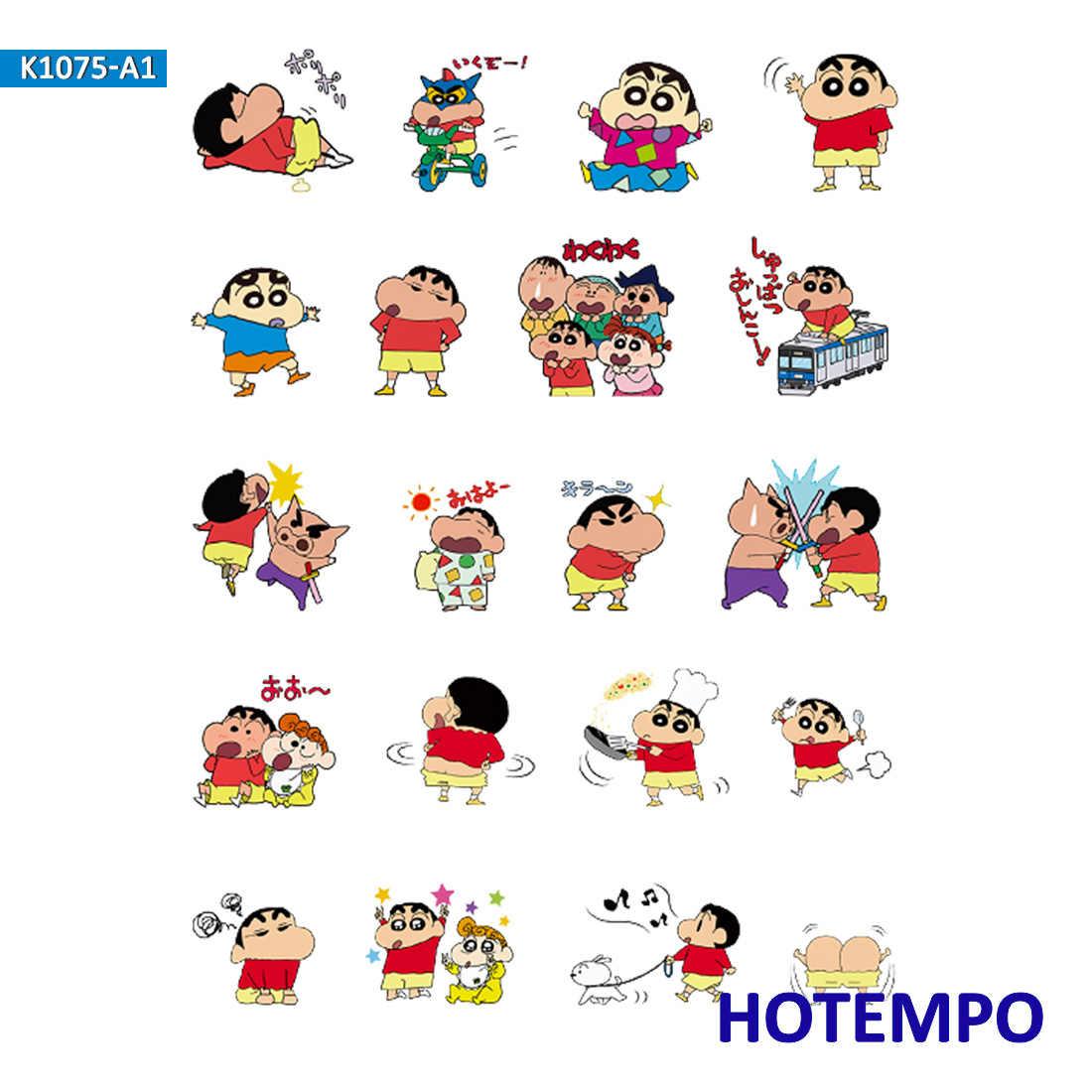 Hotempo anime shin-chan dos desenhos animados pvc adesivos à prova ddiy água crianças diy carta diário scrapbooking pegatinas adesivos