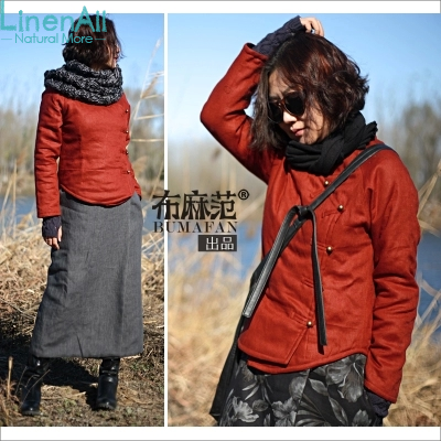 Linen clothing women s winter chinese red color 100 linen thick cotton wadded coat short jacket