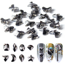 Nail Art Jewelry Sticker Black Rhodium Metallic Color Shaped Drill Square Butterfly Star