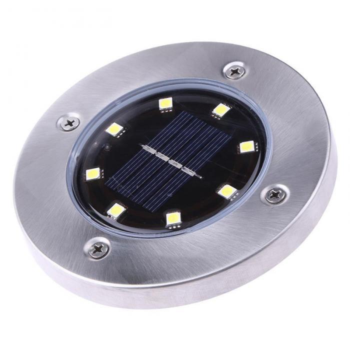4 Pcs/set  LED Solar Power Buried Light 8 LEDs Ground Lamp Outdoor Path Way Garden Decor White Four 4
