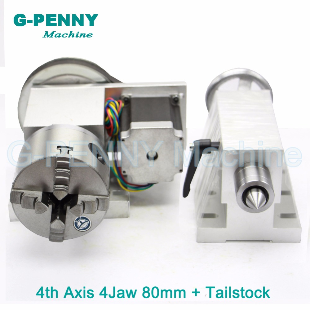 80mm 4 Jaw CNC 4th Axis+Tailstock CNC dividing head/Rotation Axis/A axis kit for Mini CNC router/engraver woodworking engraving 6040z usb 4 axis 1 5kw mini cnc engraver grinder duty free to ru