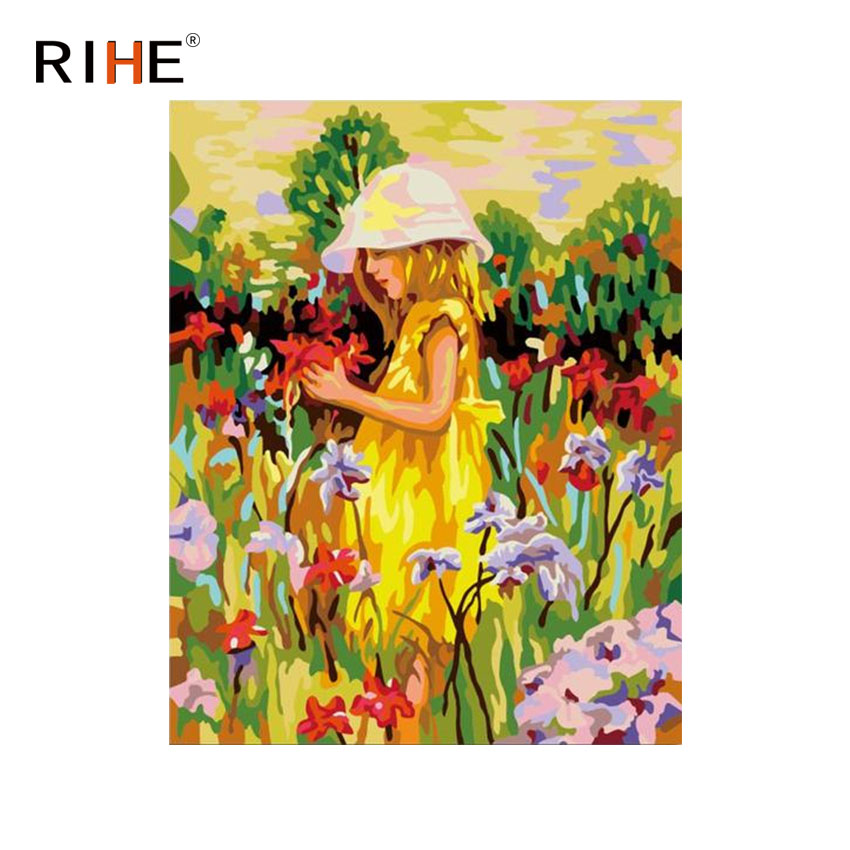 RIHE Girl In Flower Field Oil Painting By Numbers Cuadros Decoracion Acrylic Paint On Canvas For Artwork Modern Home Decor 2018