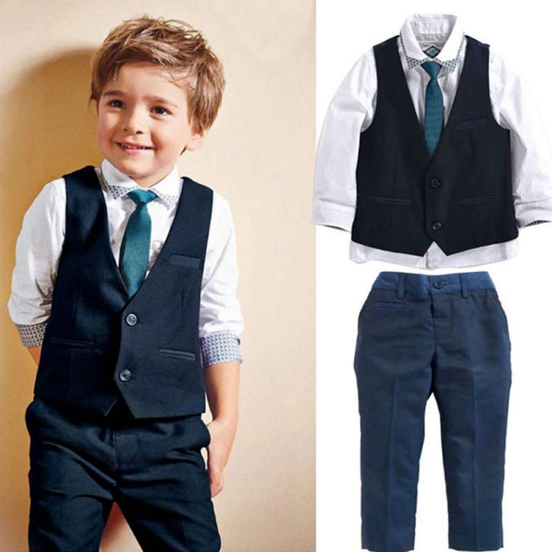 4 pcs verão conjuntos de roupas infantis Meninos terno formal conjunto terno  do casamento festa meninos bbc4bf5a3ad