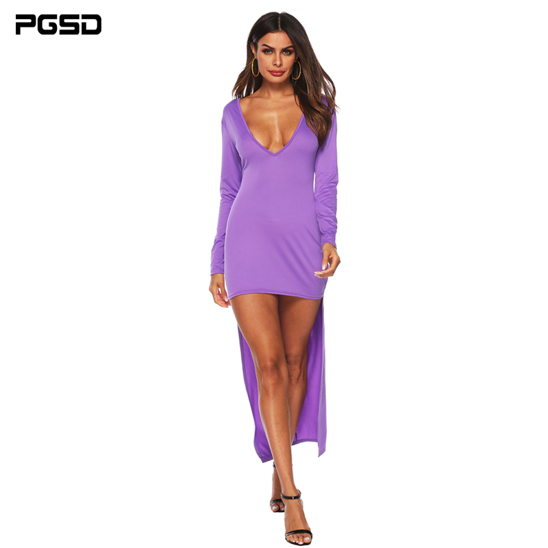 PGSD Spring Simple Fashion Women Clothes Pure color irregular sexy deep V backless front short back long buttock dress female