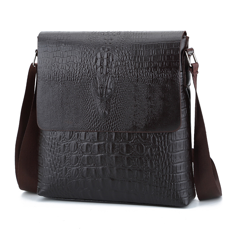 Fashion TOP font b Leather b font Men messenger bags Cover closure Business briefcase male crossbody