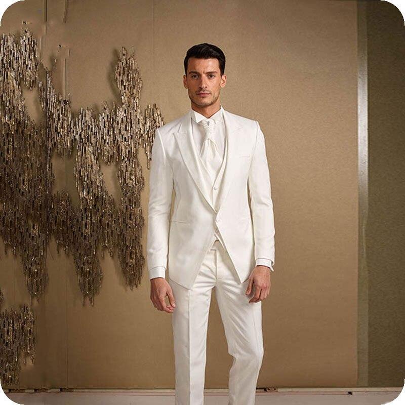 Italian White Men Suit For Wedding Bridegroom Blazer Prom Custom Made Tuxedo Slim Fit Formal Terno Masculino Groom Wear 3Pieces