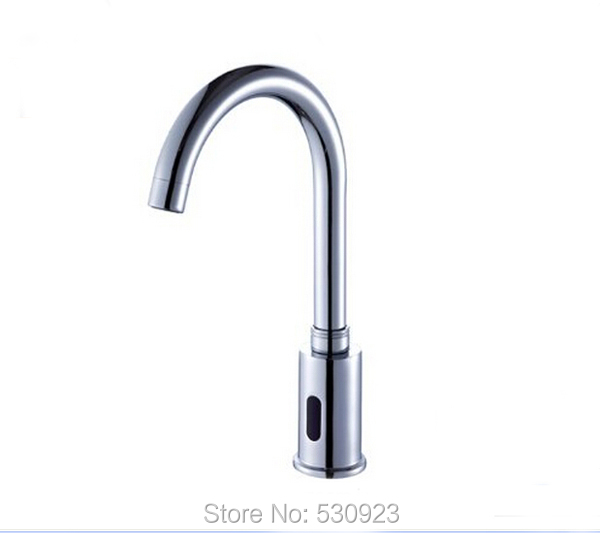 Newly Chrome Finish Kitchen Sink Vessel Faucet Automatic Kitchen Tap Soild Brass Tap Single Cold Water Deck Mounted newly contemporary solid brass chrome finish arc spout kitchen vessel sink faucet thermostatic faucet mixer tap deck mounted
