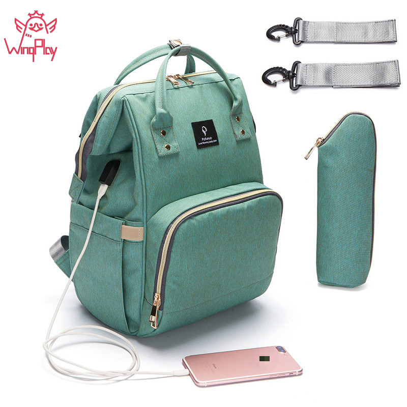 Large Capacity Mummy Diaper Bag Solid Waterproof Maternity Bag Baby Diaper Bags With USB Interface Maternity Bag For Stroller