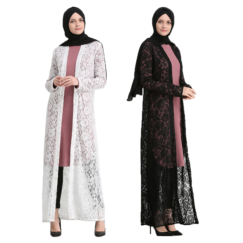 bf18915e8aa2f US $44.89 |Aliexpress.com : Buy UAE Black abaya dubai Lace cardigan  Sunscreen maxi dress White abayas for women Arab Turkish caftan marocain  muslim ...