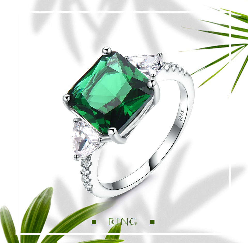 UMCHO Emerald  925 sterling silver rings for women NUJ092E-1 -pc (1)