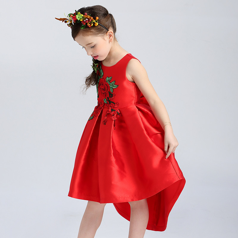 4-10 Years Rose Flower Girl Dress Chinese Style Bow Tie Wedding Birthday Party Kids Clothes Summer Princess Pageant Dresses цены онлайн