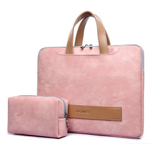 13.3 14 15.6 PU Leather Waterproof Laptop Case for Women, notebook Bag soft shockproof Handbag include power bag