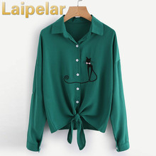 Cat Embroidered Knotted Hem Shirt Long Sleeve Blouse Fashion 2018 Woman Lapel Button Casual Spring Autumn Blouse Laipelar Shirts