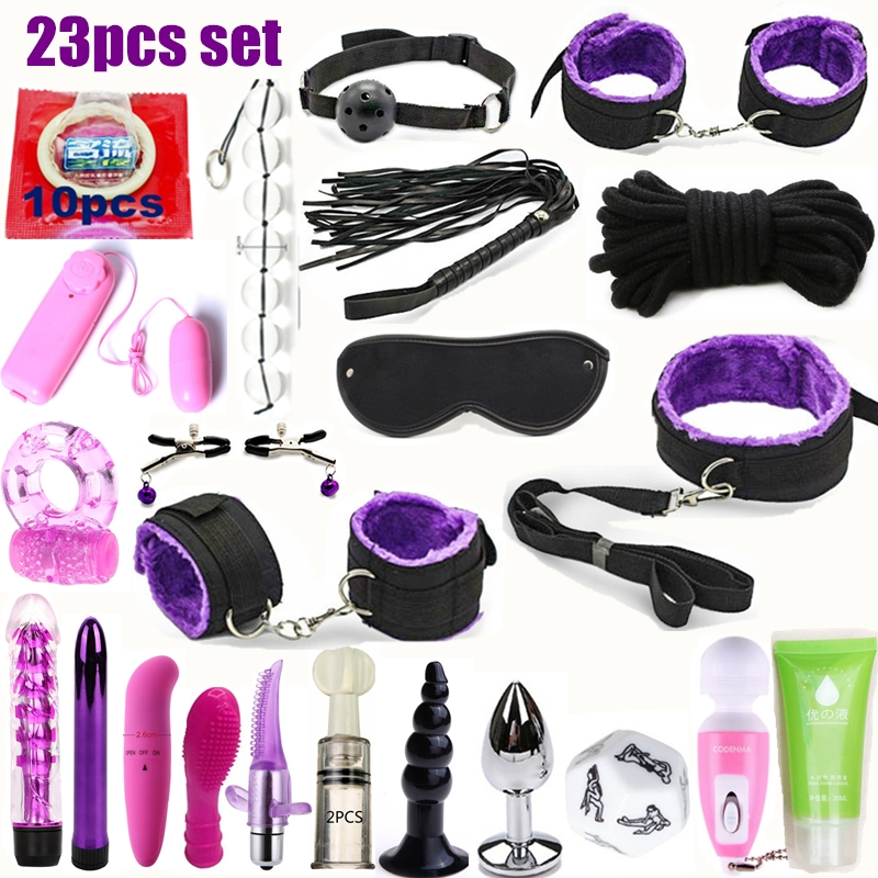 2019 Adult Sex Toys For Couples Bondage Vibrators Set Nylon Restraint BDSM Slave Vibrator Plug Flirt Games Erotic Toys For Women