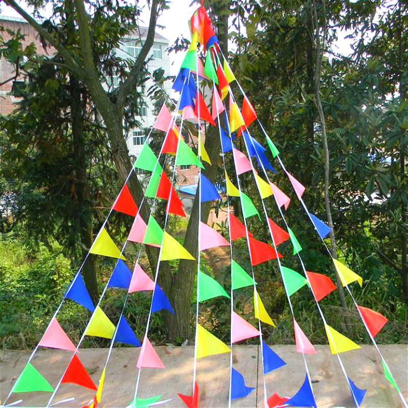 (15X24cm) <font><b>50</b></font> meters Wedding Festival Triangles Flag Holiday Bunting Decor Party Birthday Garland Wedding Home Decoration Pennant image