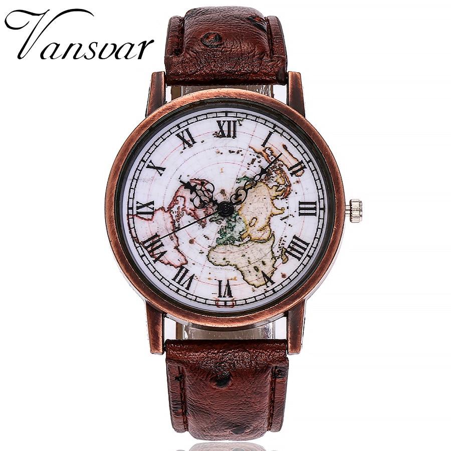 Vansvar Brand Fashion Mini World Map Leather Watch Casual Women Wristwatches Quartz Watch Relogio Feminino Gift Reloj Mujer Ff