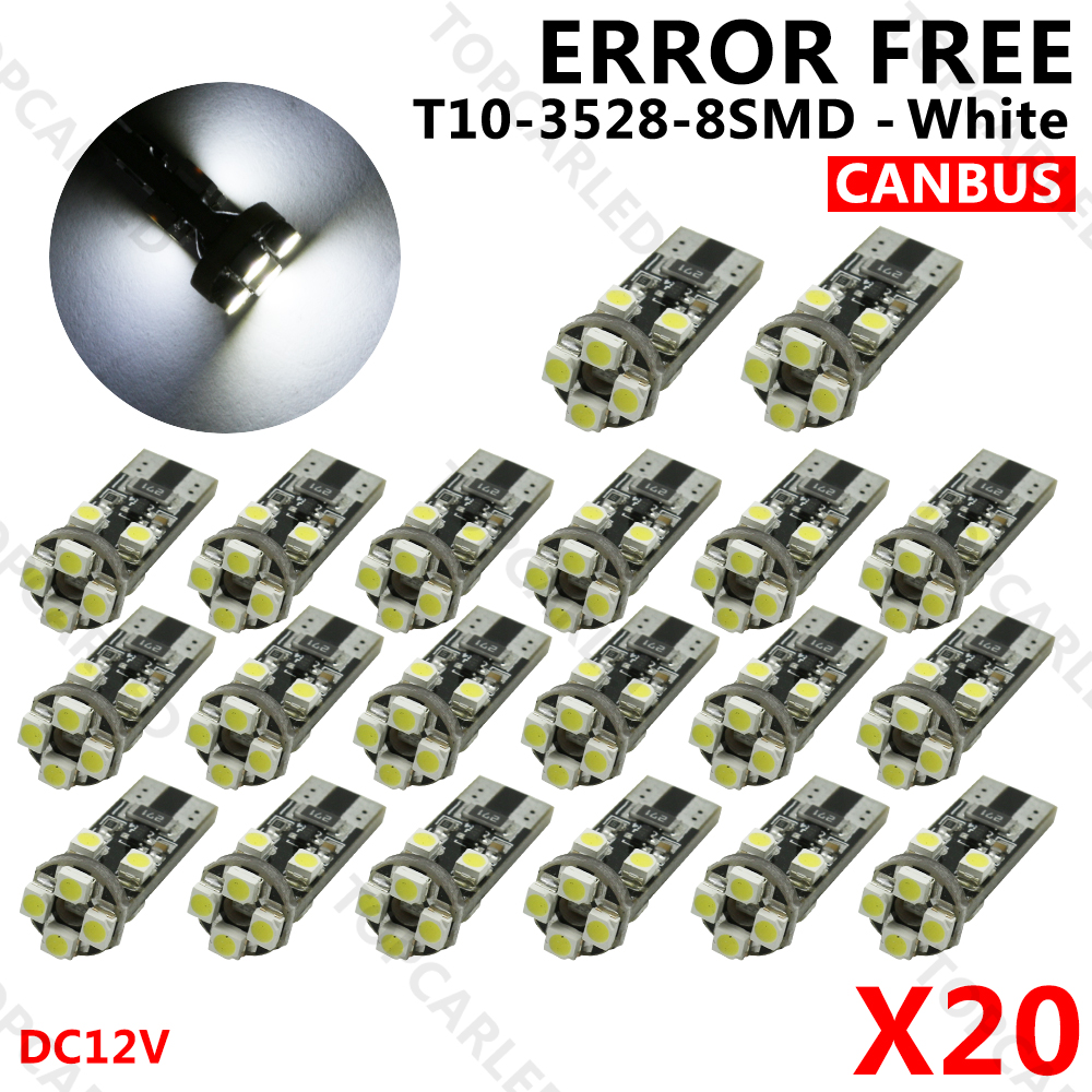 20pcs/Lot Canbus T10 W5w Led 8 SMD T10 3528 LED Canbus No OBC Error 194 168 Light Bulb Lamp White DC12V 100pcs lot t10 5 smd 5050 led canbus error free car clearance lights w5w 194 5smd light bulbs no obc error white