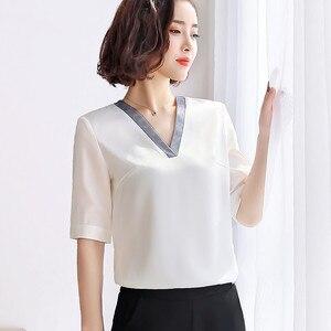 Image 4 - คุณภาพสูงแฟชั่นผู้หญิงVคอเสื้อ 2019 ใหม่ครึ่งแขนหลวมเสื้อชีฟองเสื้อOLอารมณ์ผู้หญิงบวกขนาดเสื้อ