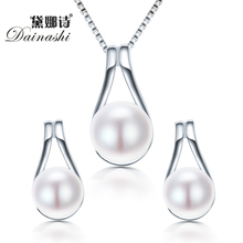 Dainashi 925 Sterling Silver Water Drop Pendant & Necklace Earrings Real Natural Pearl JEWELRY For women Party Accessories Sets