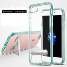 Luxury For iPhone X XS MAX XR Clear Bracket TPU Silicon Hybrid + PC Stand Case For iPhone SE 5 5S 6 6S 7 8 Plus Silicone Cover deu rhombus pattern leather coated pc tpu hybrid case for iphone 7 plus 5 5 inch black