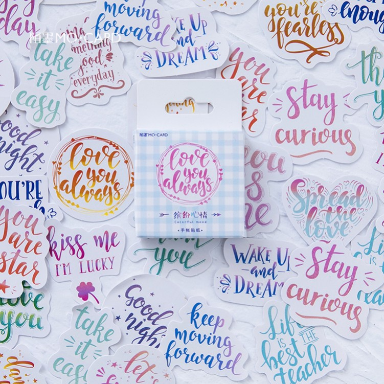 46 Pcs/Pack Kawaii Cute Leave Word Pattern Decoracion Journal Stickers Scrapbooking Stationery Student Office Supplies