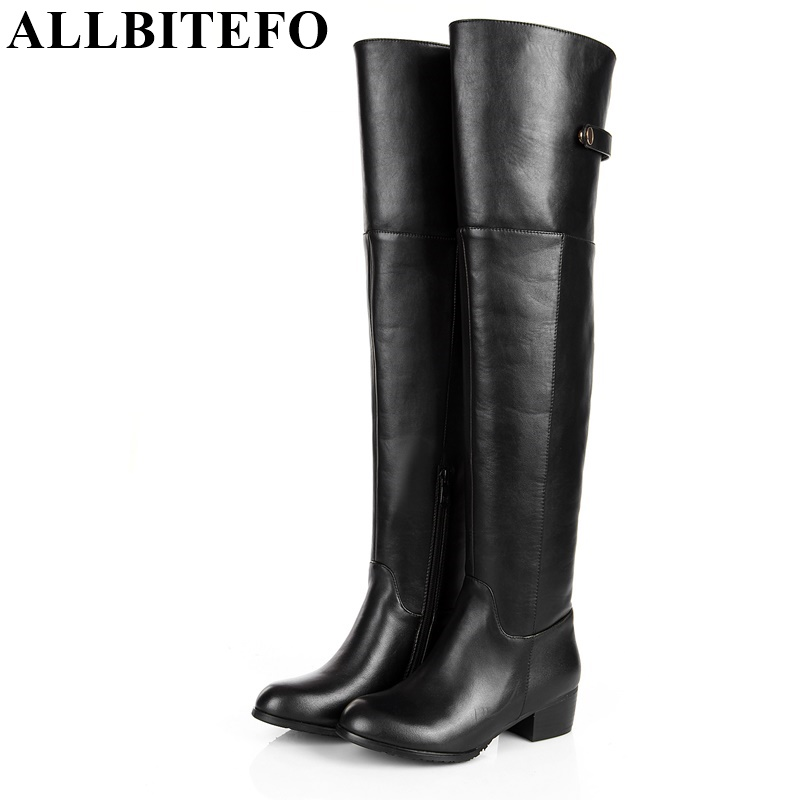 ALLBITEFO Large size:33-43 Fashion round toe thick heel buckle over the knee boots genuine leather+PU winter snow women boots allbitefo golden zip decorate fashion spring winter snow shoes genuine leather pu women boots casual knee high boots size 33 43