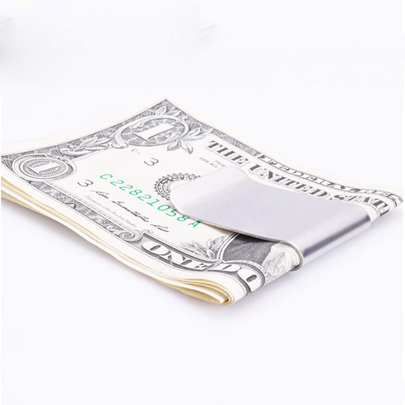 цены High Quality Stainless Steel Silver Money Clip Double Sided Slim Pocket Cash ID Credit Card Clamp Holder