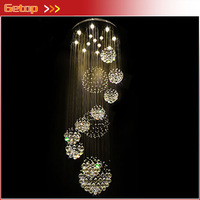 New Modern K9 Crystal Chandelier Large Hotel Chandelier LED Crystal Staircase Light Lustre Crystal Ball Design