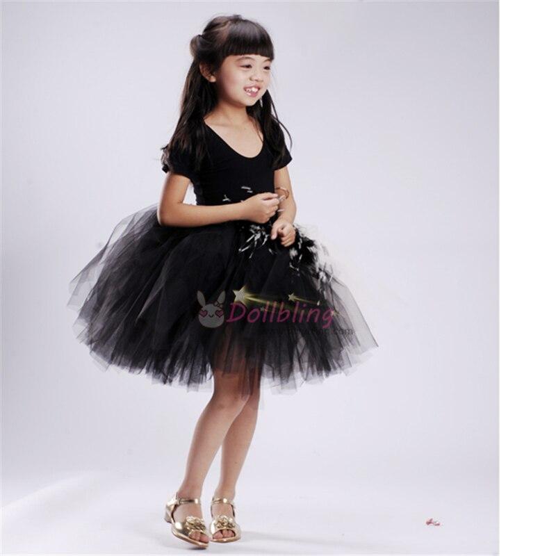 Ellie's Bridal White Black Half Match dance dress Inspired Custom made crinkle dress Junior bridesmaid girl dress1058 ресницы перья white dance